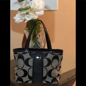 Coach black C fabric and grey handbag